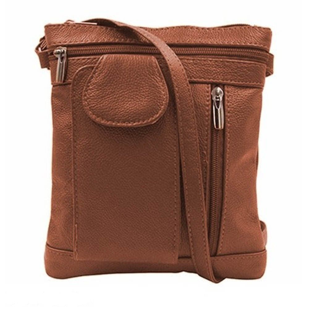 ''On-the-Go'' Soft Leather Crossbody Bag - 6 Styles (Brown)