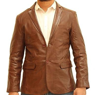 A to Z Leather Blazer Ajustable de Piel auténtica con Dos ...