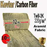 Kevlar Fabric- (YLW-Blk 10 ft x 12 in) 2x2 Twill WEAVE-3K/200g