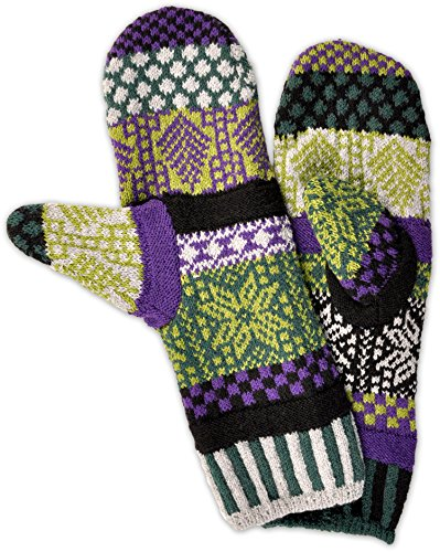 Solmate Socks - Mismatched Fleece Lined Mittens/Gloves for Women or For Men, Made in USA One Size Fits Most Adults, Balsam Winter Pattern
