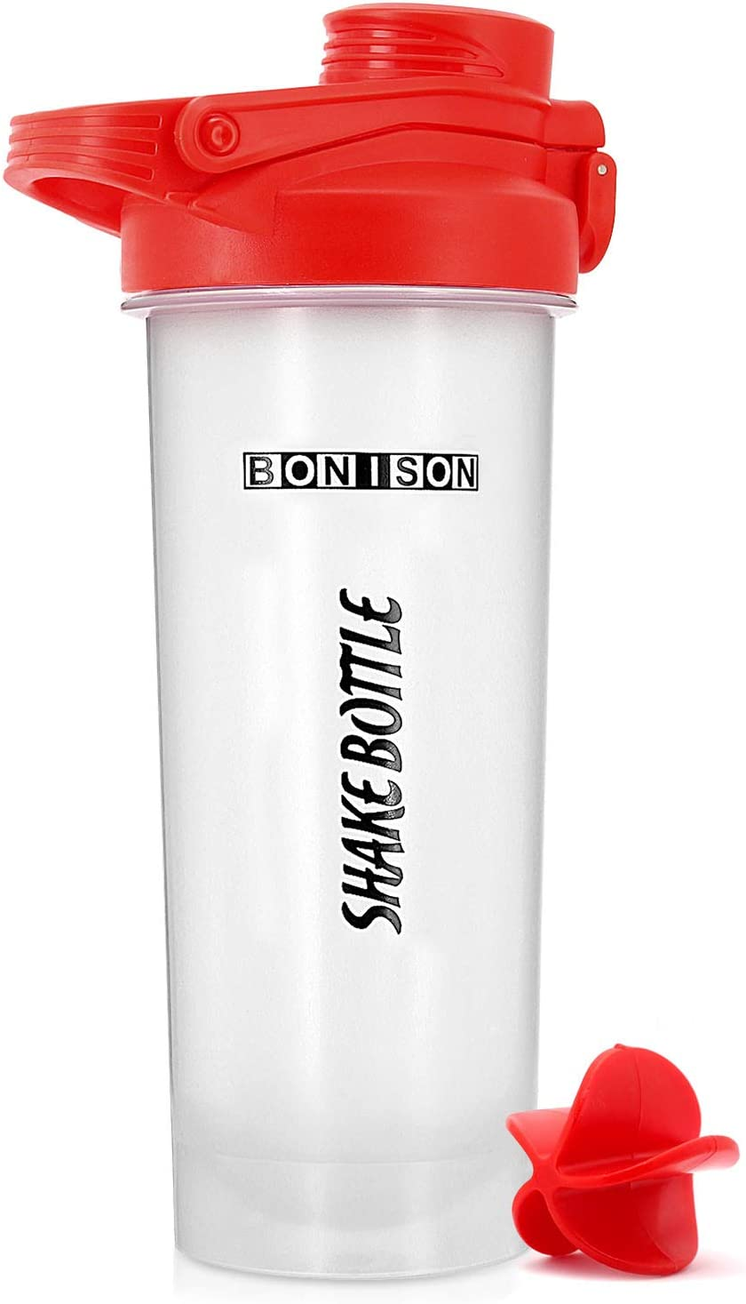 HOOPLE Shaker Bottle Protein Powder Shake Blender Gym Smoothie Cup, BPA Free, Auto-Flip Leak-Proof Lid, Handle with Ball Included - 24 Ounce