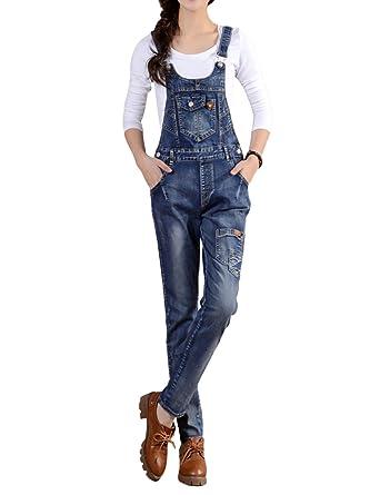 a20d0d33c27 Women s Vintage Bib Overall Denim Jumpsuit Sleeveless Romper with Pockets  (X-Small)