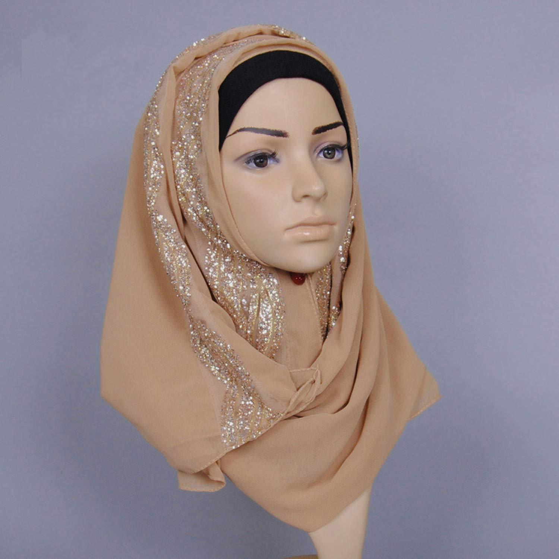 Women Glitter Bubble Chiffon Scarf Muslim Hijab Scarves Shawls Head Wraps Wedding Party Turkish Islam Turban,purple