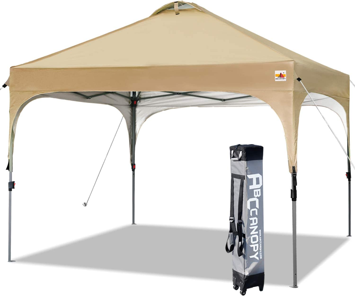 ABCCANOPY Canopy Tent 10×10 Pop Up Canopy Outdoor Canopies Portable Tent Popup Beach Canopy Shade Canopy Tent with Wheeled Carry Bag Bonus 4 Weight Bags, 4 x Ropes 4 x Stakes, Beige