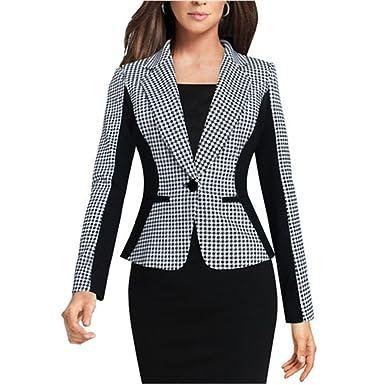 b9dd6a535fe16 SEBOWEL Women s Casual Work Houndstooth Long Sleeve Slim Office Blazer Suit  Jacket Gray XXL