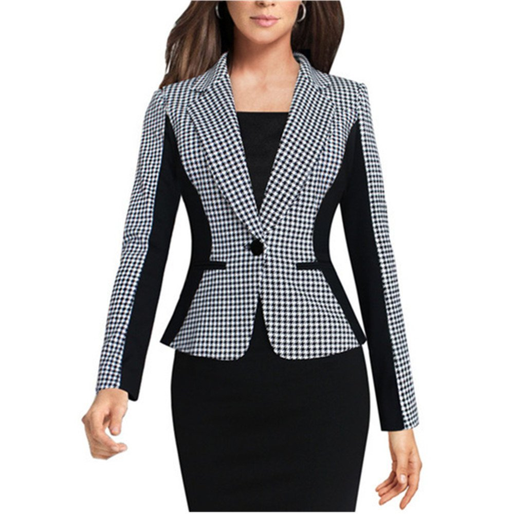 Lrud Women's Casual Work Houndstooth Long Sleeve Slim Office Blazer Suit Jacket Gray XL