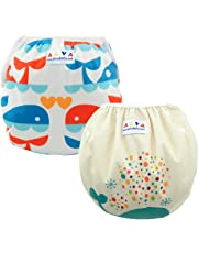 ALVABABY 2pcs Pack Big One Size Reuseable Washable Swim Diapers ZSWD02-04-CA
