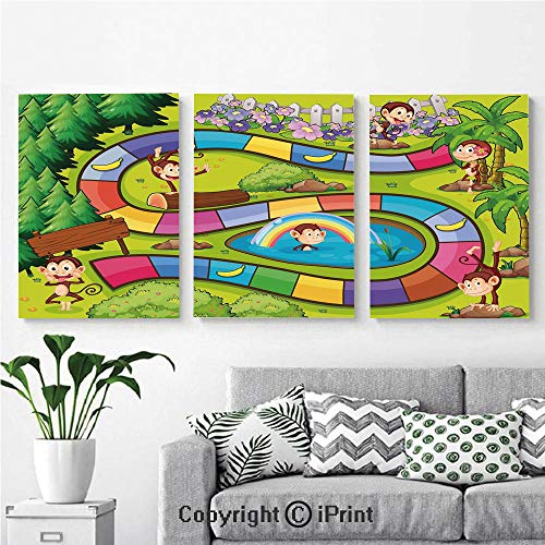 Canvas Prints Modern Art Framed Wall Mural Monkeys Apes in Forest Colorful Curve Line Tropical Jungle Bananas Funny Silly Decorative for Home Decor 3 Panels,Wall Decorations for Living Room -