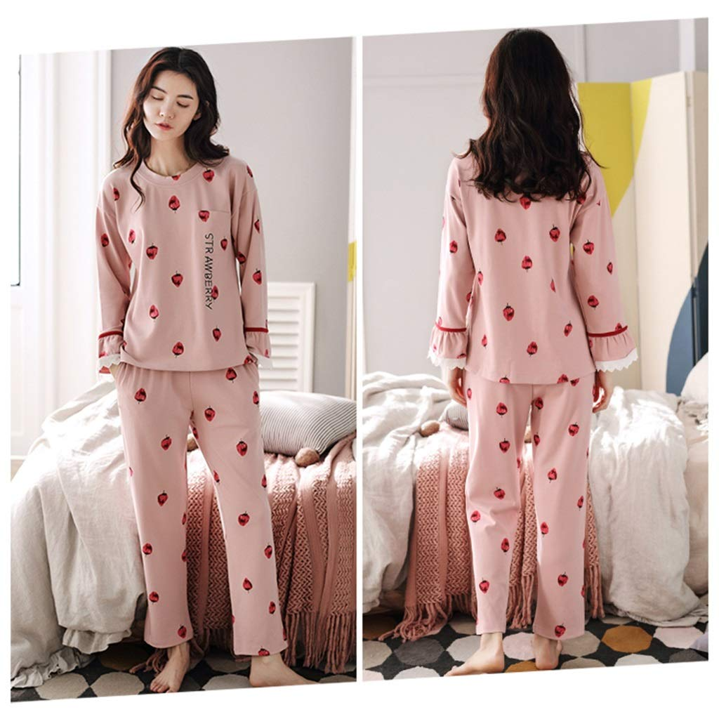 d460194348 ShenZuYangShop Pajamas nightclothes pink girl cute sweet pajamas long-sleeved  home service cotton round neck pullover student autumn comfortable casual  ...