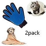 Locisne 2Packs Pet Hund Katze Reinigung Bad Pinsel Handschuh Silikon True Touch für sanfte effiziente Massage Pflege Groomer Shedding Haarentferner Clean Handschuh, rechte Hand