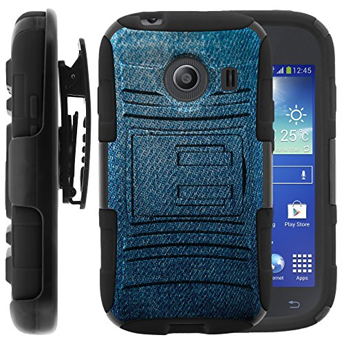 Samsung Galaxy Ace Style Case, Samsung Galaxy Ace Style Holster, Two Layer Hybrid Armor Hard Cover with Built in Kickstand for Samsung Galaxy Ace Style S765C SM-G310 from MINITURTLE | Includes Screen Protector - Blue Jeans