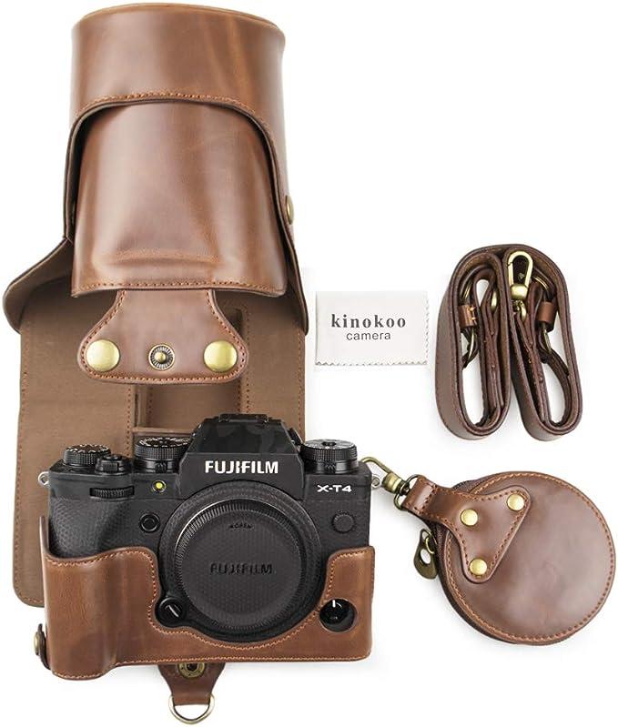 kinokoo Etui de protection en cuir PU pour Fujifilm X-T30 X-T20 X-T10 et 16-50mm /& 18-55mm Lentille marron /Épaule
