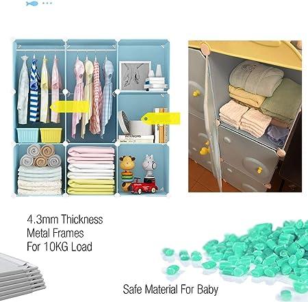 BECCOBEAT Armarios Dormitorio Armario Ropero Armarios de Tela Roperos Organizador Resina Organizadores de Ropa Almacenaje Juguetes Niños Cubos con Varilla Colgante Muebles Modernos (9 Cubo)