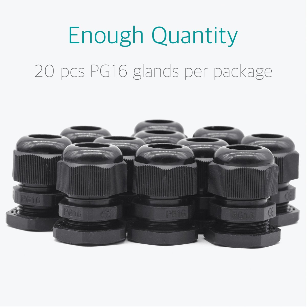 Lantee PG 16 Cable Gland - 20 Pieces Black Plastic Nylon Waterproof Wire Glands Connector Fitting by Lantee (Image #5)