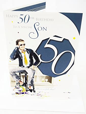 Happy 50th Birthday Son Card Elegant Mens Lovely Verse Male Mens Age