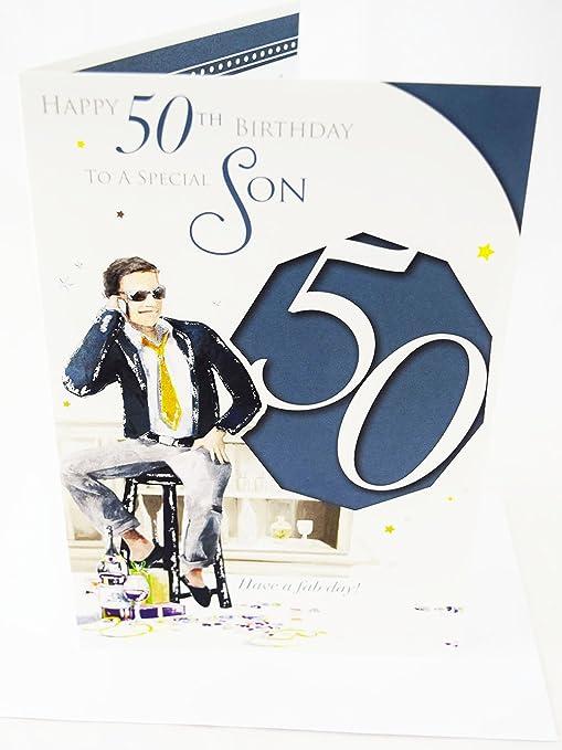 Happy 50th cumpleaños hijo tarjeta elegante - Lovely ...