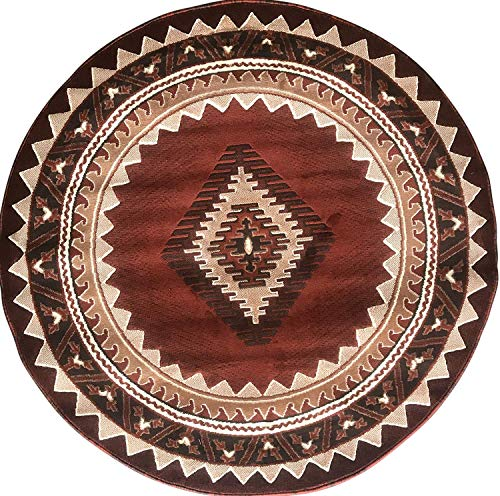 Kingdom Southwest Native American Round Area Rug Rust Beige & Brown Design D143 (6 Feet 7 Inch X 6 Feet 7 Inch) (Rugs And Rust Brown)