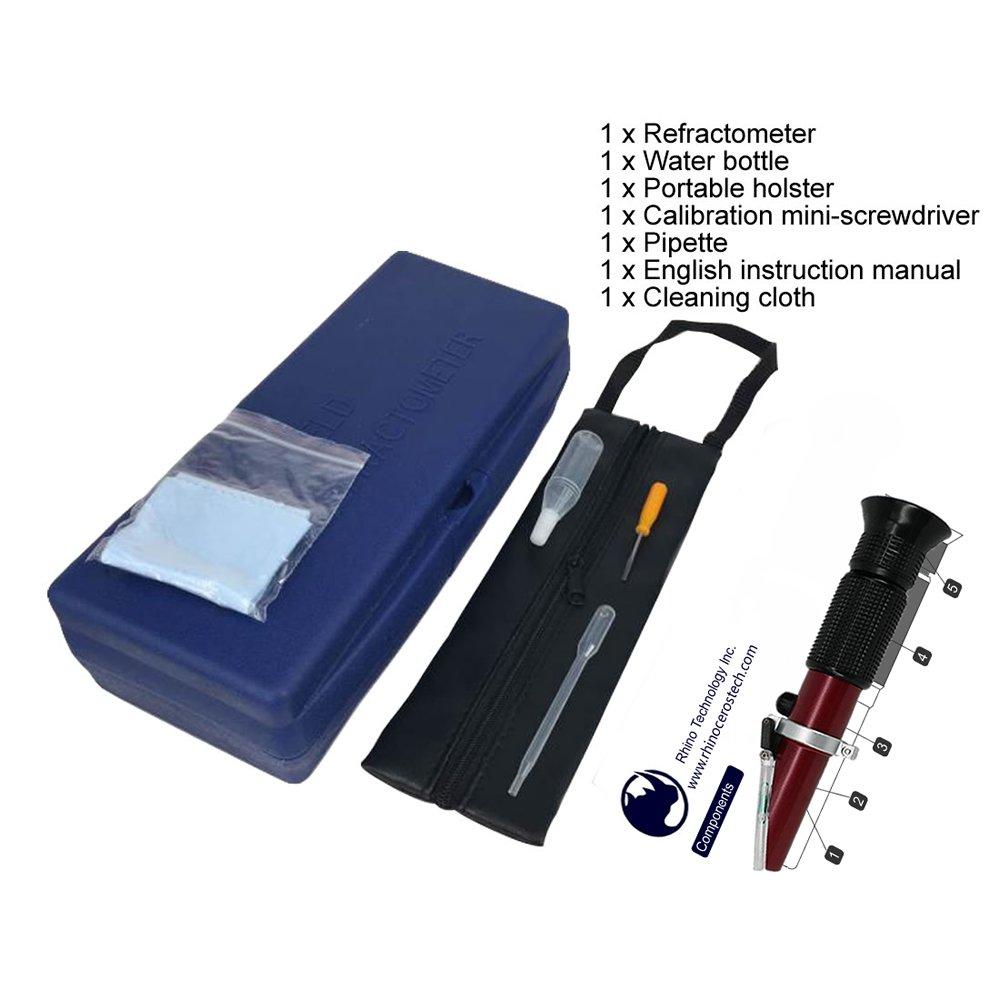Refractómetro Brix 0 ~ 32% con ATC, refractómetro de mano Rhino para dar un soporte portátil, revestimiento de teflón: Amazon.es: Amazon.es