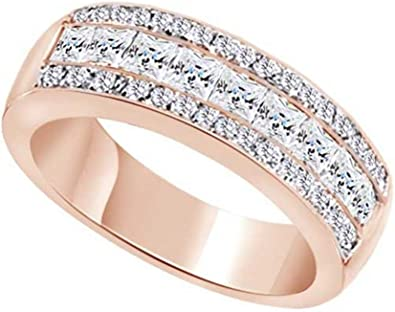 Wishrocks Simulated Birthstone with CZ Mens Wedding Band Ring in 14K White Gold Over Sterling Silver