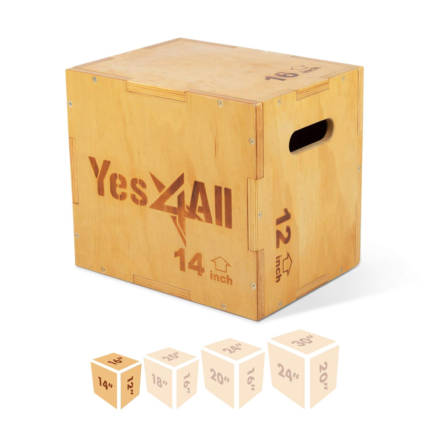 Yes4All Non-Slip/Wooden Plyo Box, Easy-to-Assemble Plyometric Jump Box for Jumping Trainers, Workout Step Platform, Crossfit Equipment for Fitness, Box-Squats and Steps-up, Multi Sizes