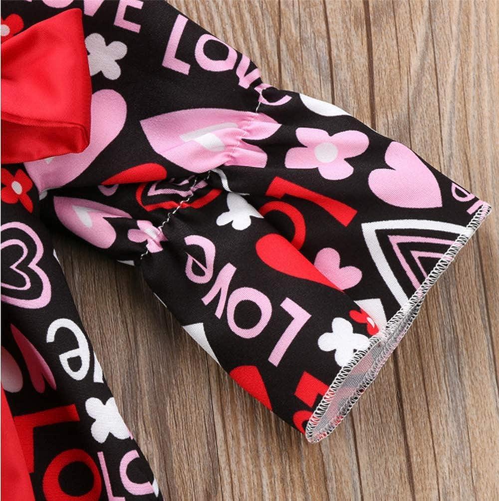 SUPEYA Baby Girls Valentine Heart Love Tutu Dress Flare Sleeve Princess Ruffled Dress