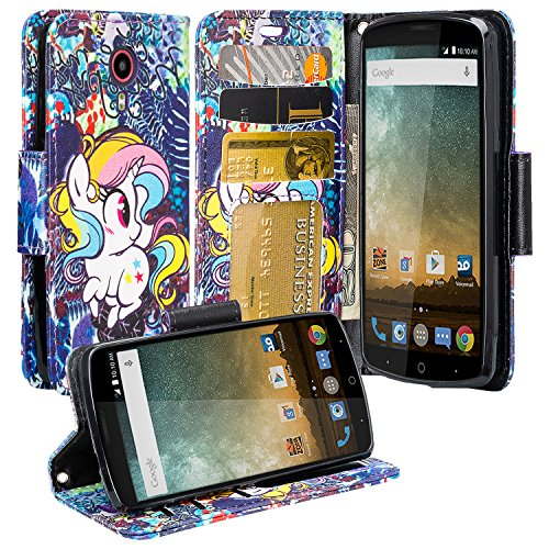 ZTE Ultra (N817) Case, ZTE Ultra Wallet Case, Luxury Leather Case Flip Cover with Card Slots Stand and Detachable Strap For ZTE Ultra, (Rainbow Unicorn)