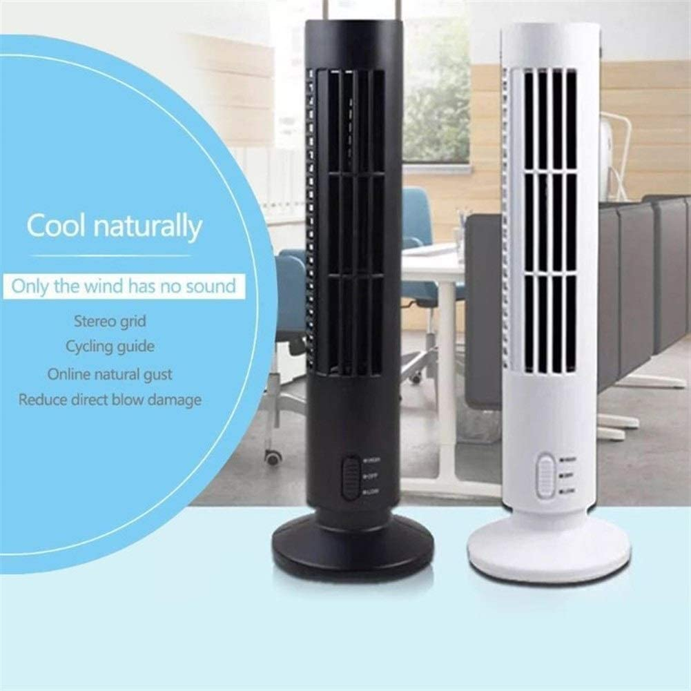 Air Cooler Mini USB Vertical Bladeless Air Conditioner Handheld Portable Cooler Desktop Silent Cooling Tower Fan Home Office Color : White