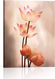 BOOPBEEP Pink Lotus Flowers Canvas Wall Art & Pink Floral Prints Wall Art Decor, Modern Pictures HD Printing Artwork for Bathroom Living Room Bedroom Office Ready to Hang Decor -12x16 Inch