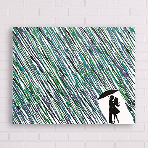 Melted Crayon Art Couple Under Umbrella In The Rain Painting 16quotx20quot