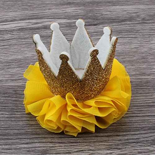 50pcs/lot 10colors Newborn 3D Felt Baby Crown+Chiffon Flower for Girl Hair Accessories Glitter Felt Crown For First Birthday Hat