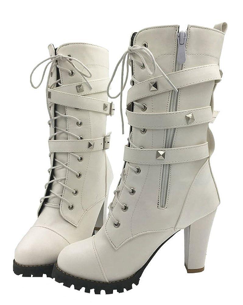 Minetom Otoño Invierno Cómodas Para Mujer Zapato Boots Shoes Cuero Botines Botas De Callejero Moda Tacones Altos Casual Elegante: Amazon.es: Ropa y ...
