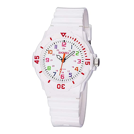 Reloj de pulsera para niños y niñas, cuarzo analógico, deportivo con brújula giratoria, correa de silicona impermeable de 50 m, el mejor regalo para niños: ...