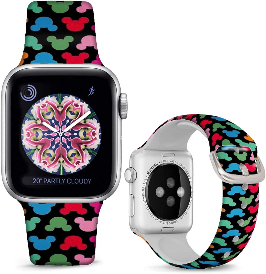 DOO UC Floral Bands Compatible with iWatch 38mm/42mm/40mm/44mm, Cartoon Images Silicone Fadeless Pattern Printed Replacement Bands for iWatch Series 4/3/2/1, M/L for Women/Men