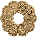 "Cork Coasters For Drinks Absorbent and Reusable by Teivio - 4 Inches Perfect for Most Kind of Glasses - 1/5"" Thick Mandala Style - Set of 10"