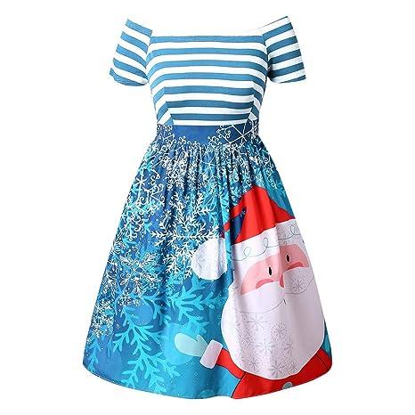 SMILEQ Vestido de Mujer con diseño de balón de Navidad, Falda de ...