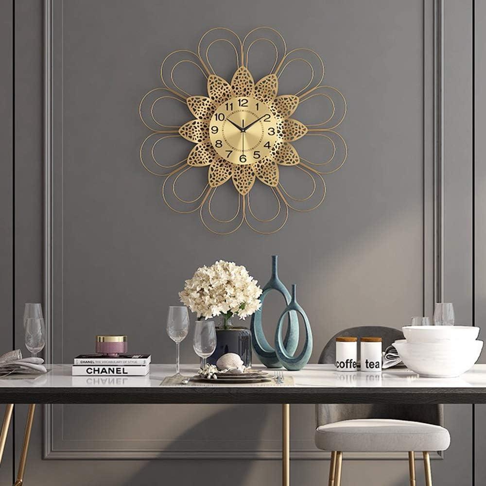 QCSMegy Nordic Minimalist Metal Wall Clock Mute Creative Clock Golden Wall Clock 68 68CM