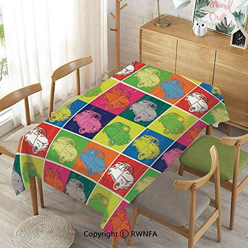 Homenon 100% Polyester Tablecloths for Rectangle Tables,Italian Cars in Colorful Frames and Pop Art Style Grunge Display Artful Composition Decorative,Waterproof Stain-Resistant,Multicolor,55