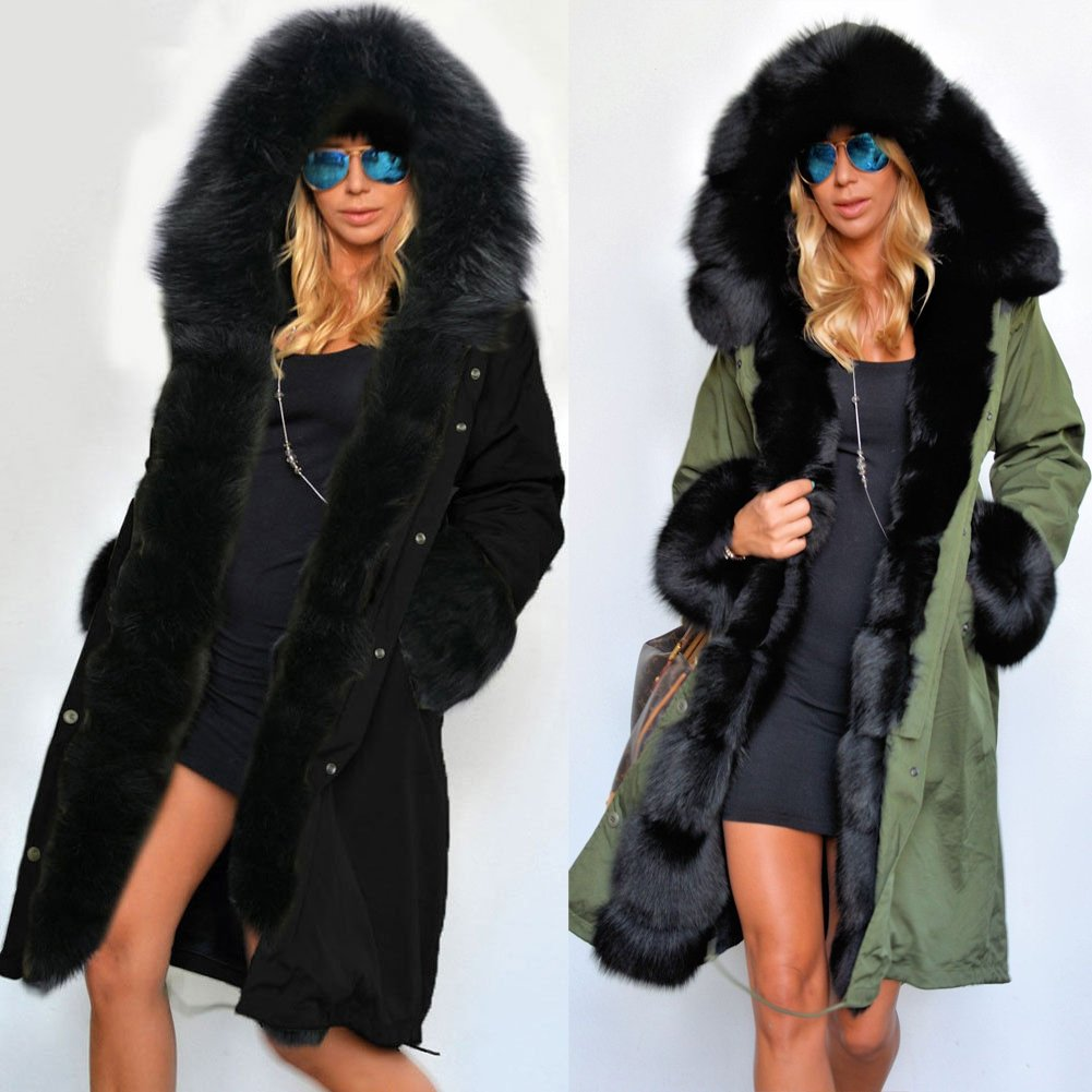Roiii Women's Winter Thicken Faux Fur Hooded Plus Size Parka Jacket Coat Size S-3XL by Roiii (Image #3)