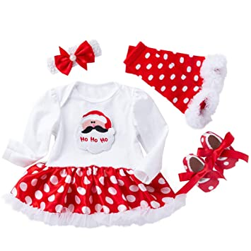 4e9b358f2e0 Amazon.com   Newborn Infant Baby Girls Christmas Skirt Sets Little Girls  Santa Long Sleeve Romper Dot Tutu Dress Pants 4pcs Clothes (age  6-12  Months