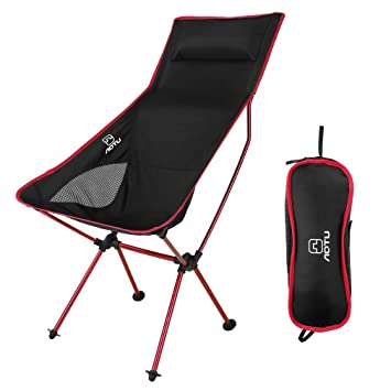 OUTAD Silla Plegable Ligera Portatil Folding Chair para Camping/Pesca/Playa (Color Rojo)