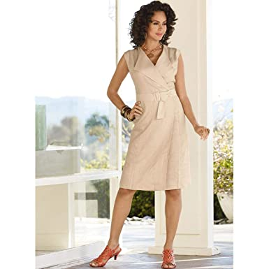 250f693207 EY Boutique Linen Wrap Dress at Amazon Women s Clothing store