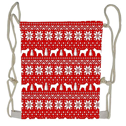 Cellcardphone Bouvier Des Flandres Silhouettes Christmas Sweater Pattern Cute Drawstring Bag Personalized Gift String Backpack