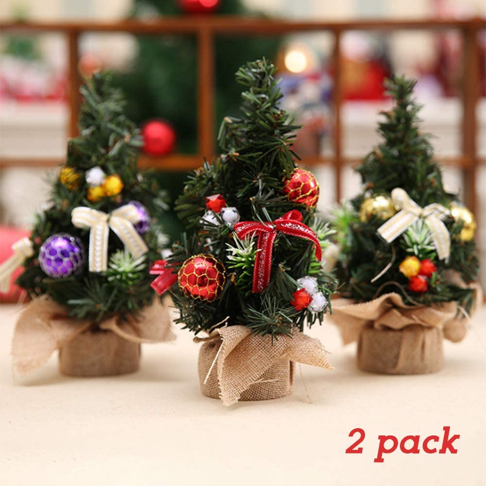 "zeonkit 8"" Artifical Fake Mini Christmas Tree for Home Office Bedroom Livingroom Desk Top Stand with Gifts Ornaments Decorations(2 Pack with Random Color)"