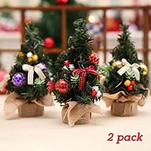 """zeonkit 8"""" Artifical Fake Mini Christmas Tree for Home Office Bedroom Livingroom Desk Top Stand with Gifts Ornaments Decorations(2 Pack with Random Color)"""