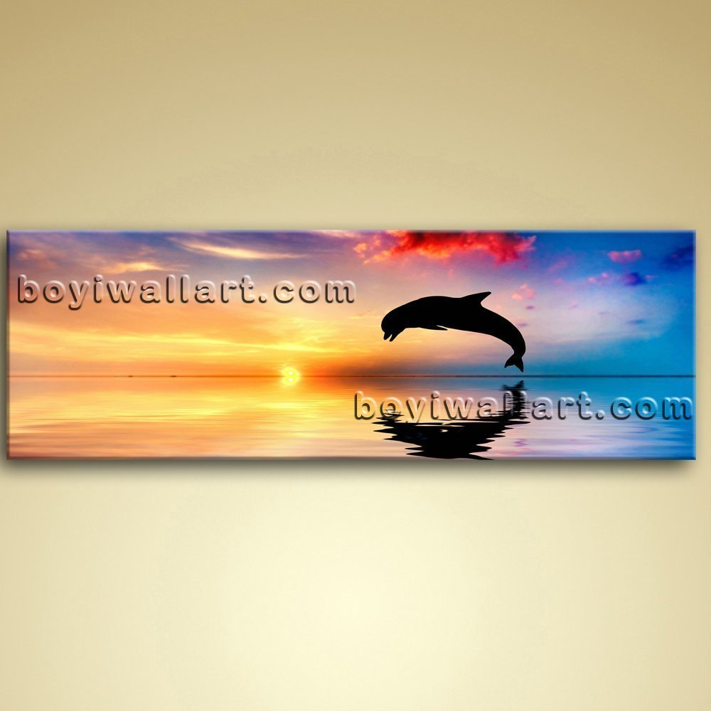 Amazon.com: Large Dolphin Animal Photography On Canvas Print Wall ...