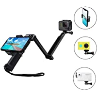 Taisioner 3 Way Grip Arm Tripod + 1/4 Screw + Phone Mount for GoPro Hero 6 5 4 3 3+ 2 Action Camera