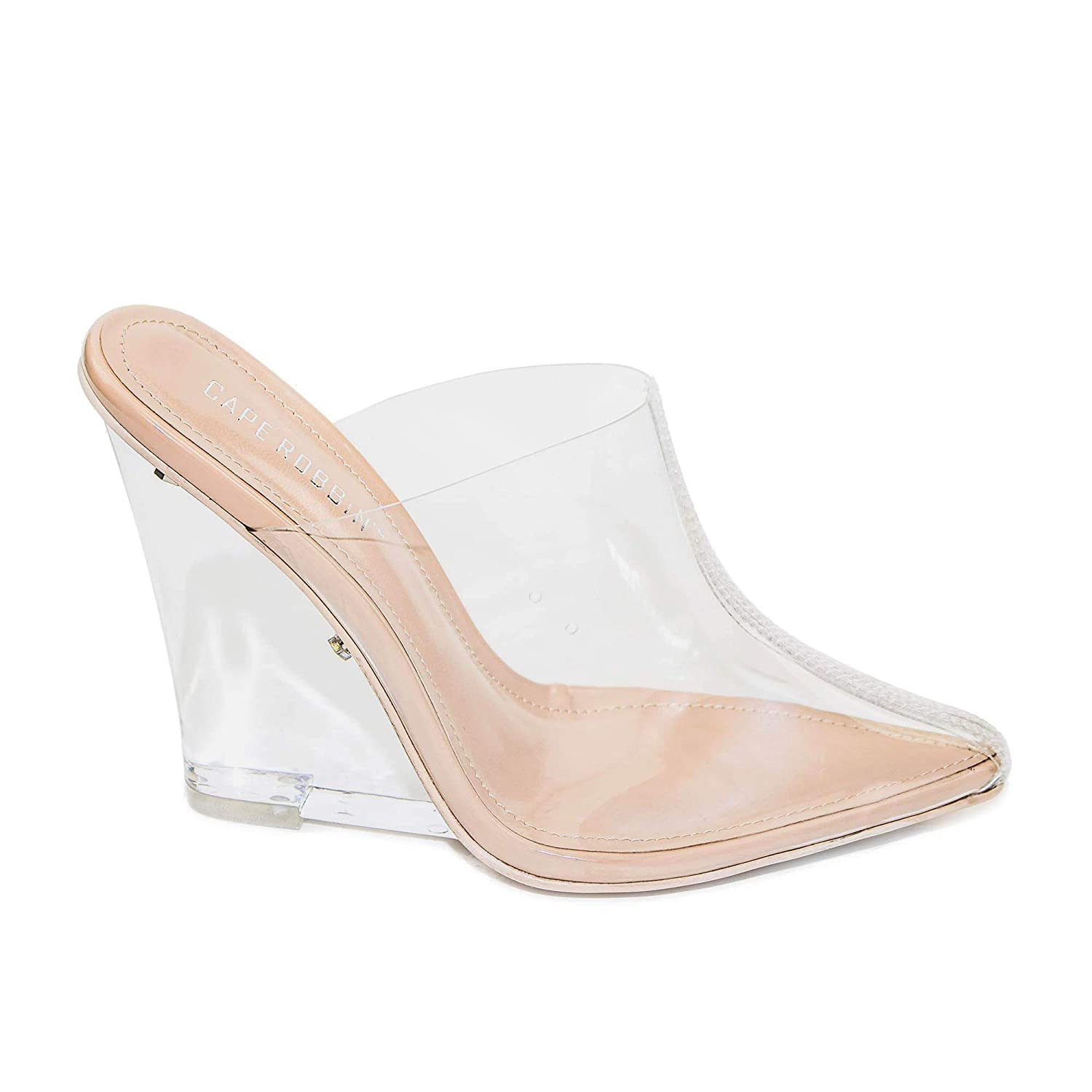 Cape Robbin Womens Sugar Transparent Lucite Clear Wedge Heel PVC Closed Toe Slip On Mules