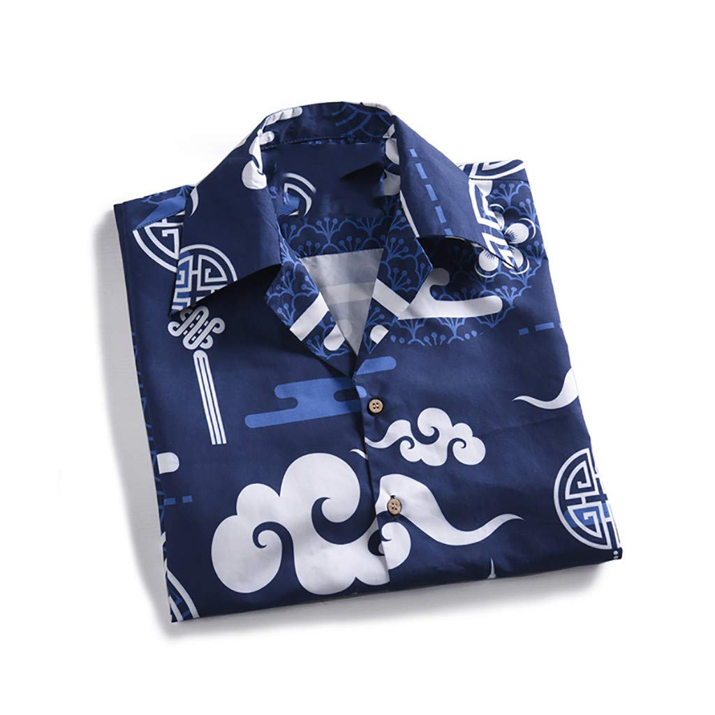 Freesa Mens Summer Beach Tops China Short-Sleeved Casual Hawaiian Shirt