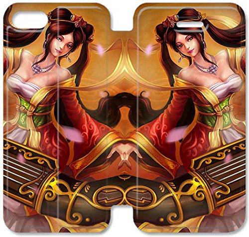 Flip étui en cuir PU Stand pour Coque iPhone 5 5S, bricolage 5 5S étui de téléphone cellulaire League of Legends Guqin Sona Z4H1LV Hard Coque Case Retour