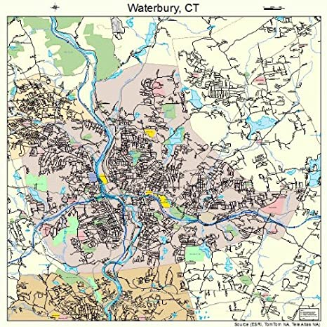 Waterbury, Connecticut Street Map – Fire & Pine